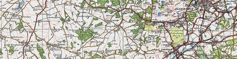 Old map of Crondall in 1919
