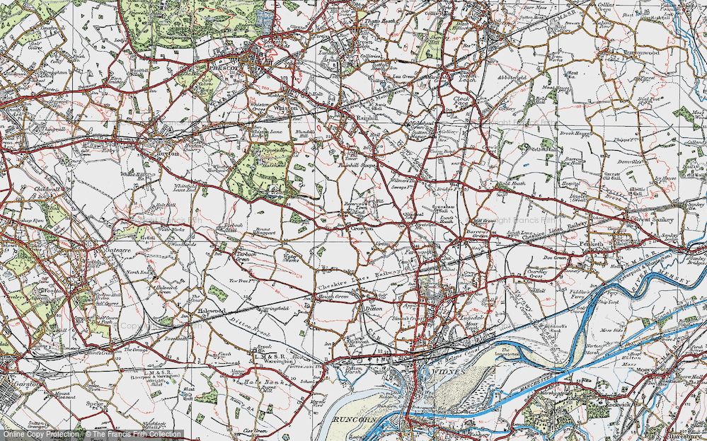 Old Map of Cronton, 1923 in 1923