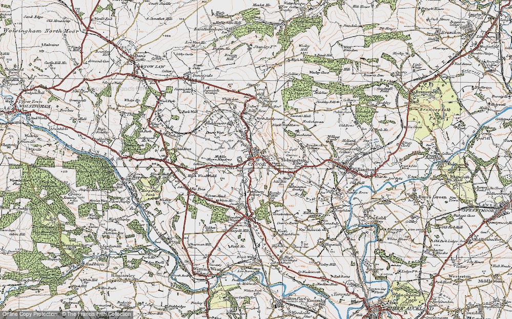 Old Map of Crook, 1925 in 1925