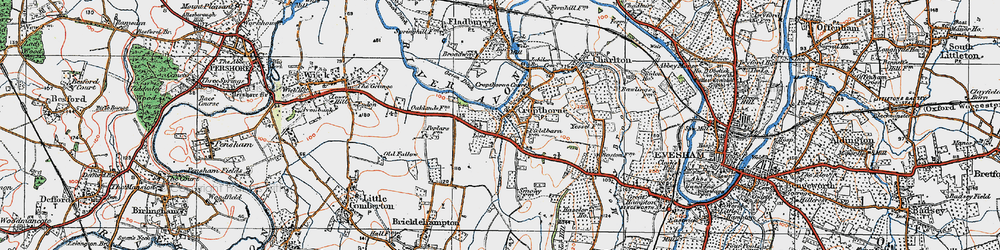 Old map of Cropthorne in 1919