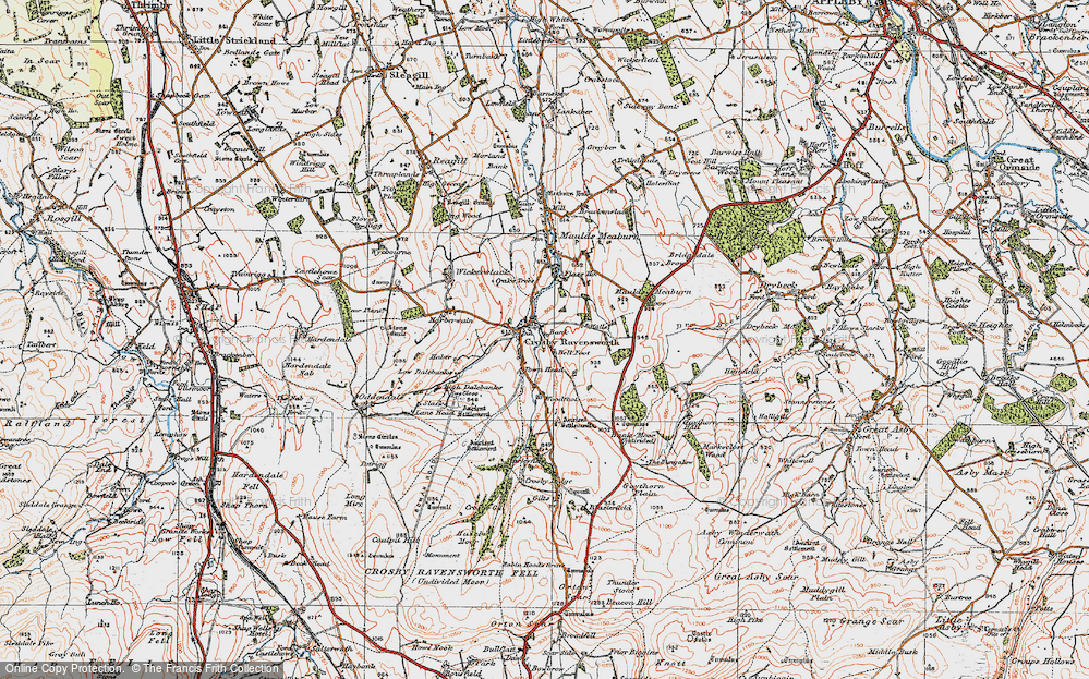 Old Map of Historic Map covering Bank Moor in 1925