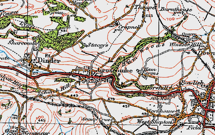 Old map of Croscombe in 1919