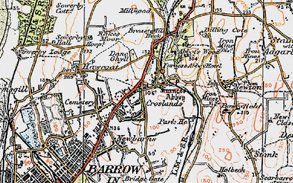 Old map of Furness Abbey in 1924