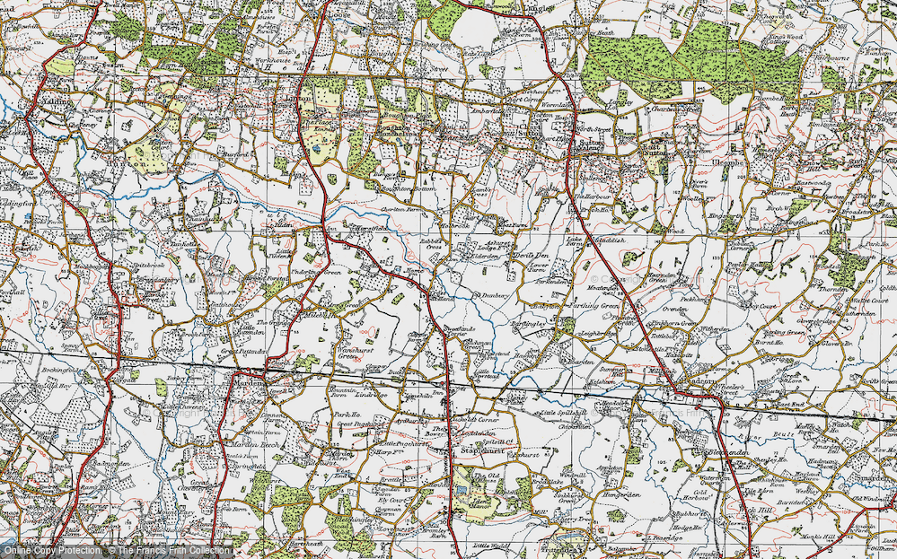 Old Map of Historic Map covering Ashurst Court in 1921