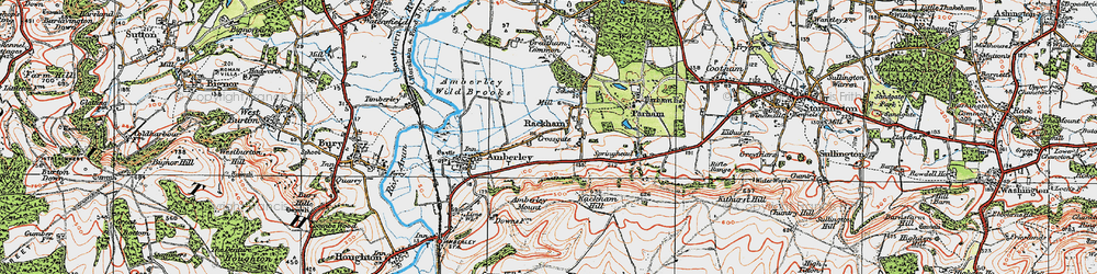 Old map of Amberley Mount (Tumuli) in 1920