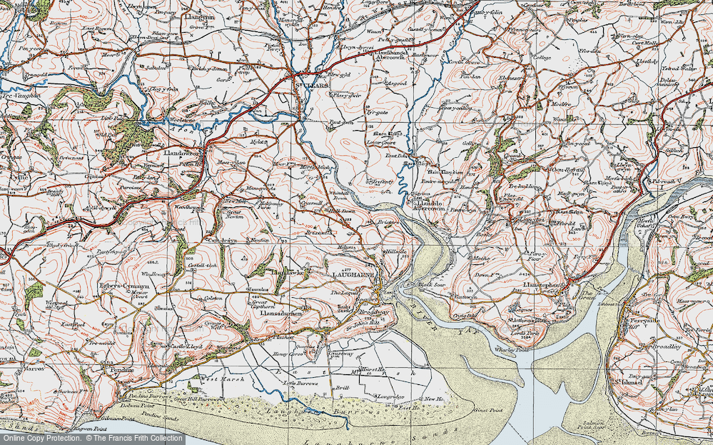 Old Map of Historic Map covering Lanfro in 1922