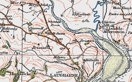 Old map of Lanfro in 1922
