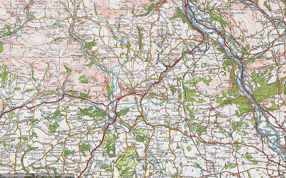 Old Map of Historic Map covering Afon Clun in 1922