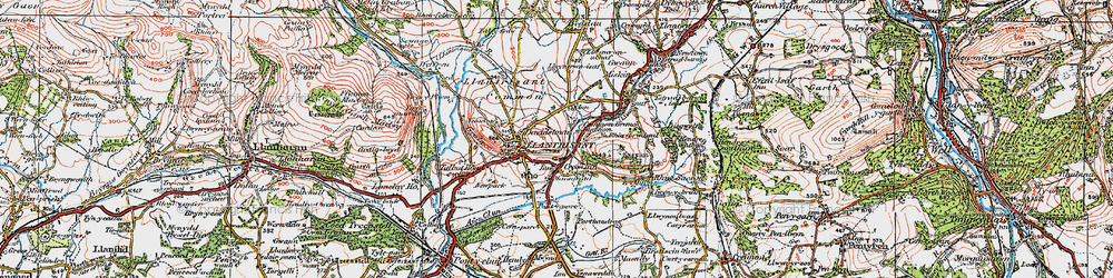 Old map of Afon Clun in 1922