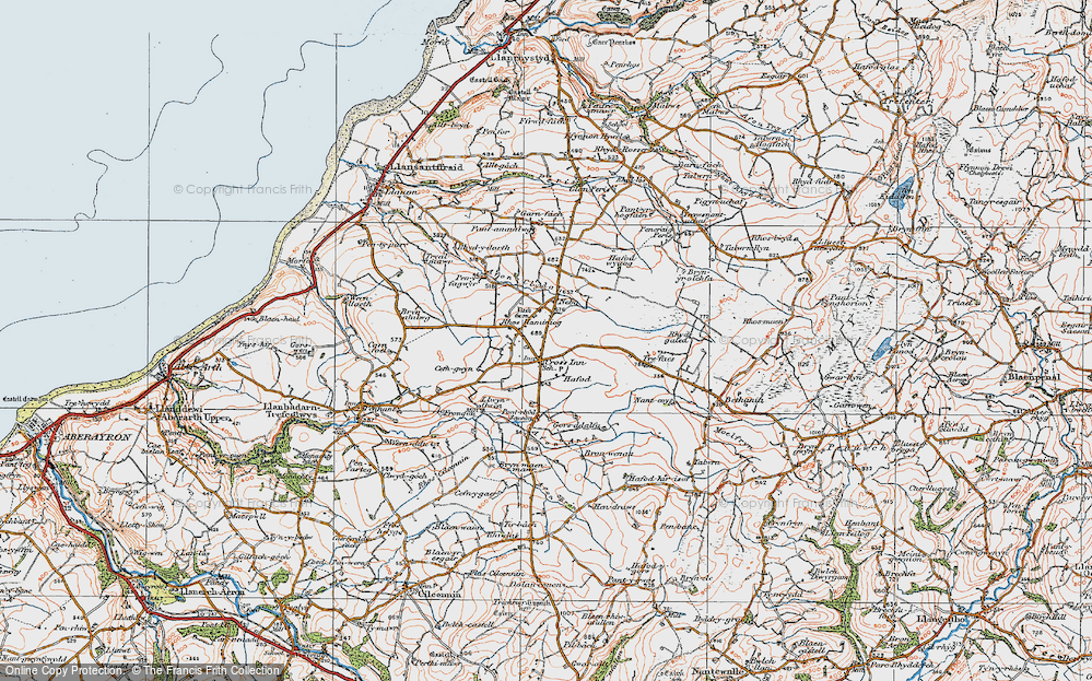 Old Map of Historic Map covering Afon Brân in 1923