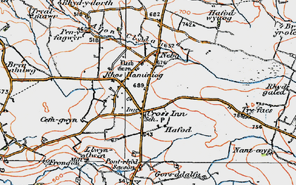 Old map of Afon Brân in 1923