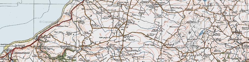 Old map of Afon Brân in 1923