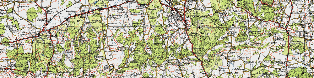 Old map of Whitley Forest in 1920