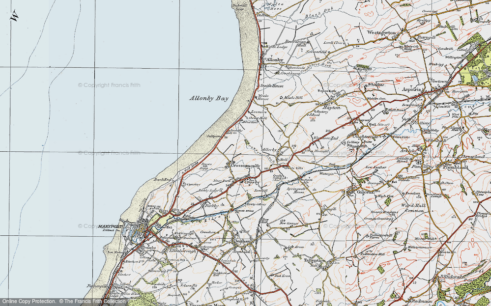Old Map of Historic Map covering Allonby Bay in 1925