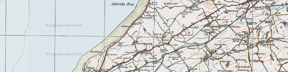 Old map of Allonby Bay in 1925