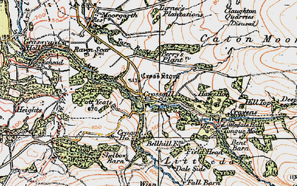 Old map of Baines Cragg in 1924