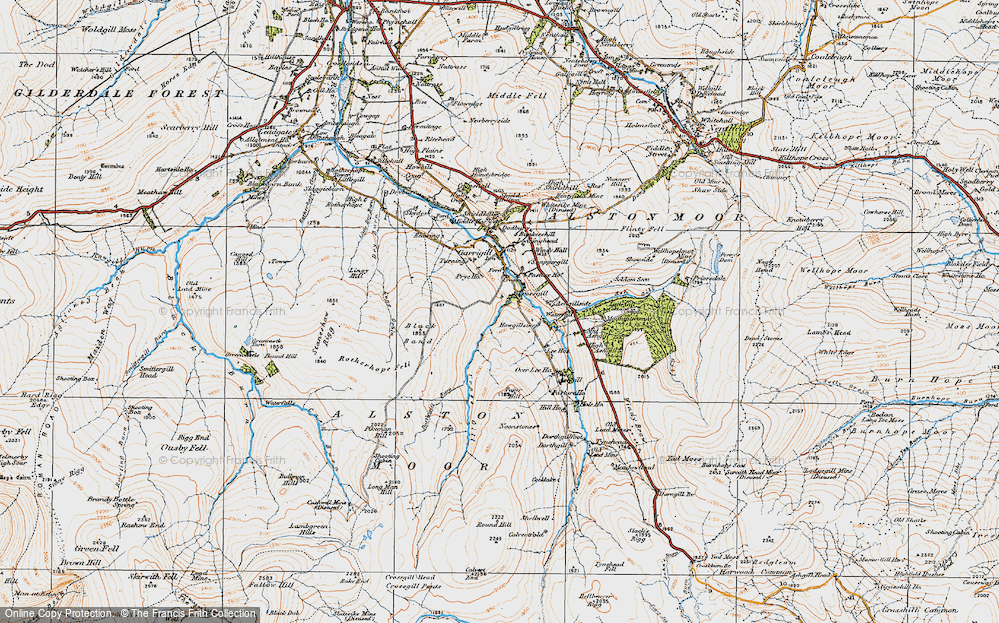 Old Map of Historic Map covering Ash Gill in 1925