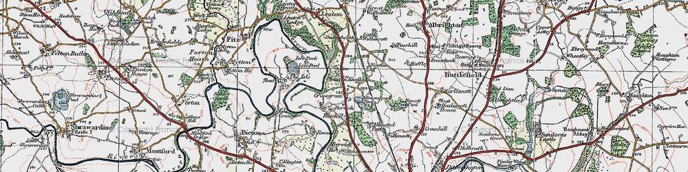 Old map of Alkmund Park Pool in 1921