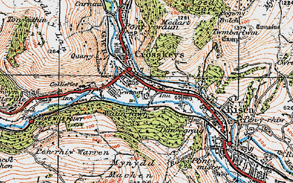 Old map of Crosskeys in 1919