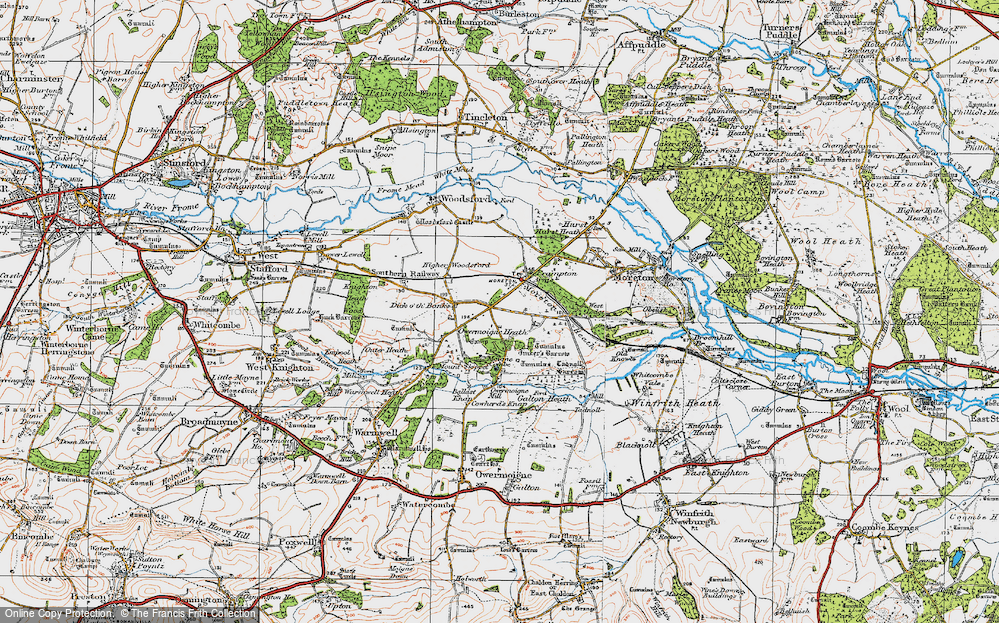 Old Map of Historic Map covering Tinker's Barrow in 1919