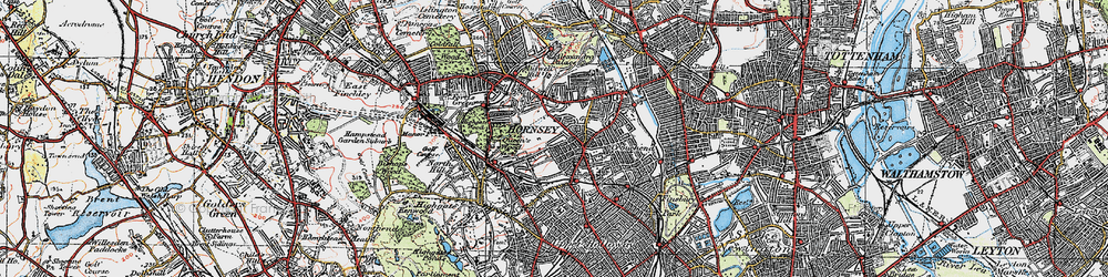 Old map of Crouch End in 1920