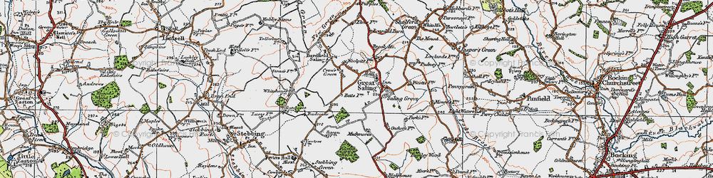 Old map of Woolpits in 1919
