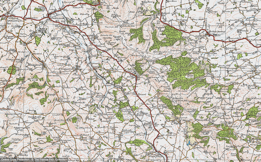 Old Map of Crowcombe, 1919 in 1919
