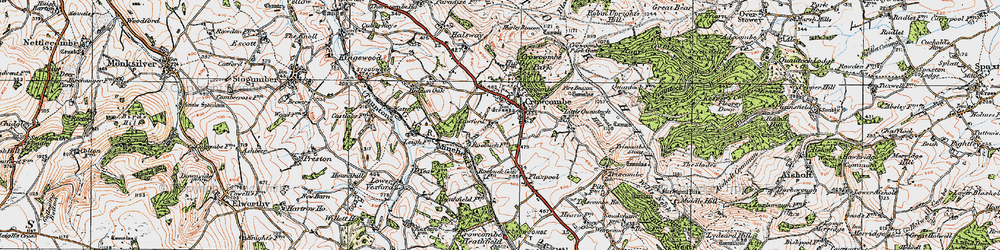 Old map of Crowcombe in 1919