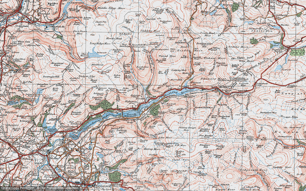 Old Map of Historic Map covering Woodhead Reservoir in 1924