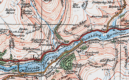 Old map of Bareholme Moss in 1924