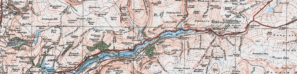 Old map of Wildboar Clough in 1924