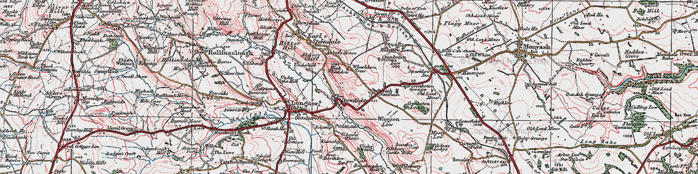 Old map of Wheeldon Trees in 1923