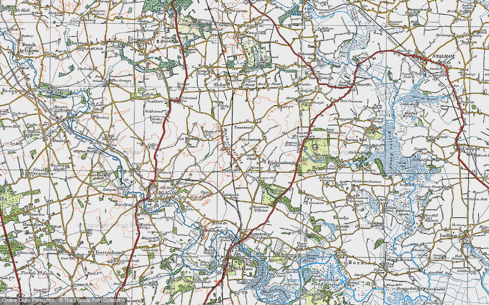 Old Map of Historic Map covering Wroxham Barns Craft Centre in 1922