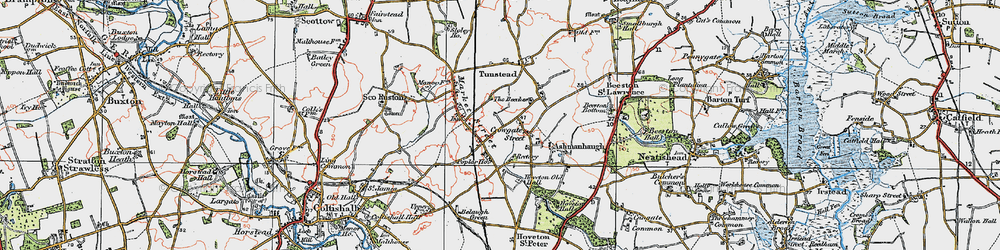 Old map of Wroxham Barns Craft Centre in 1922