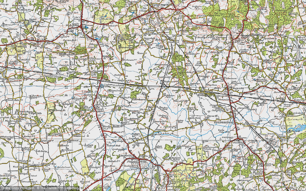 Old Map of Crowhurst, 1920 in 1920
