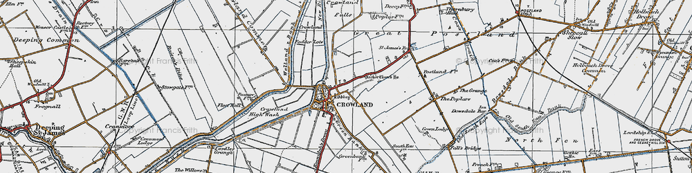 Old map of Crowland in 1922