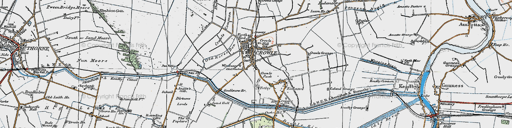 Old map of Crowle in 1923