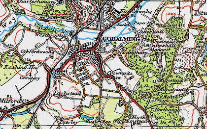 Old map of Crownpits in 1920