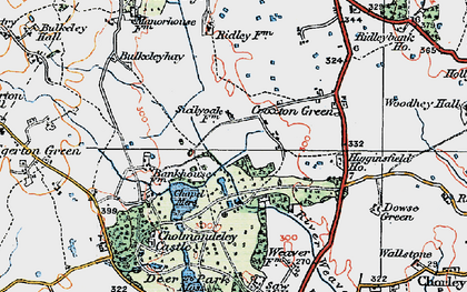 Old map of Cholmondeley Castle in 1921