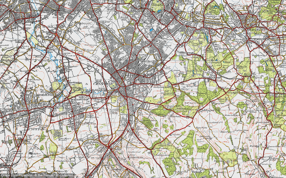 Old Map of Croydon, 1920 in 1920