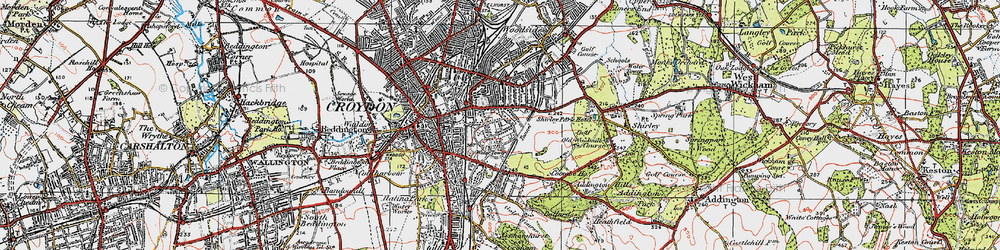 Old map of Croydon in 1920