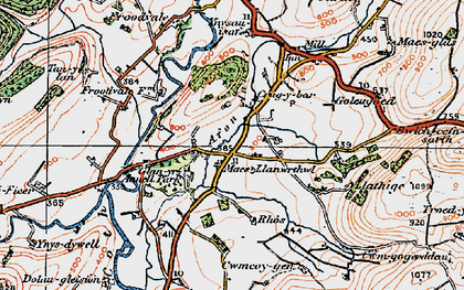 Old map of Crugybar in 1923