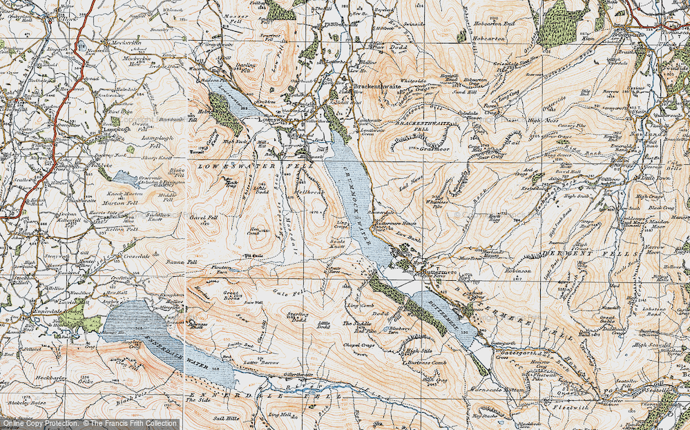 Old Map of Historic Map covering Ling Crags in 1925