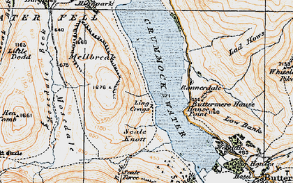 Old map of Ling Crags in 1925