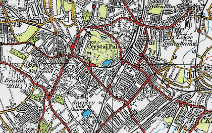 Old map of Crystal Palace in 1920