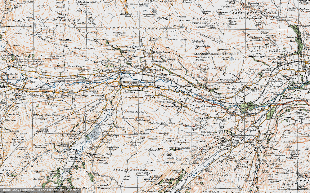 Old Map of Historic Map covering Addlebrough in 1925