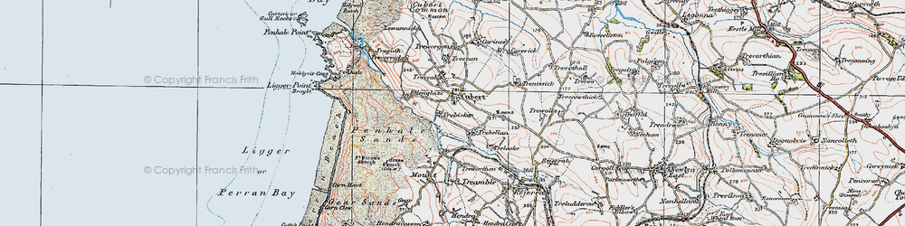 Old map of Cubert in 1919