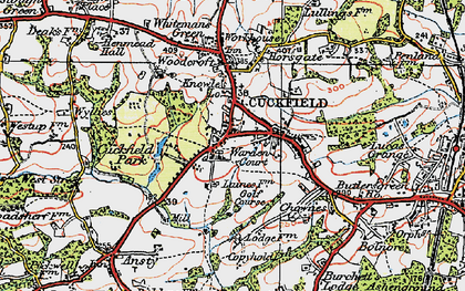 Old map of Cuckfield in 1920