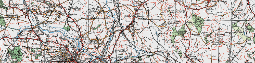 Old map of Cudworth in 1924