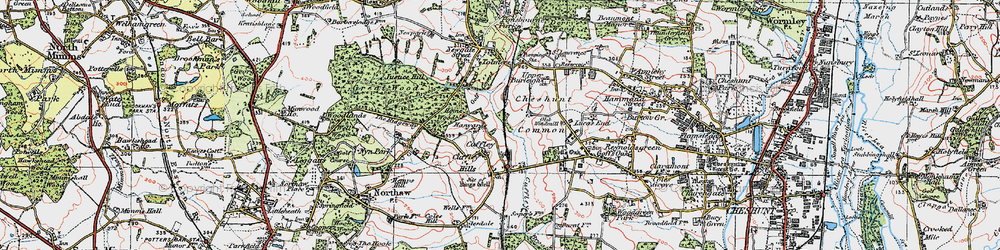 Old map of Cuffley in 1920